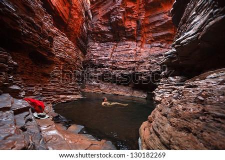 Karijini National park Hancock Gorge, Western Australia - stock photo