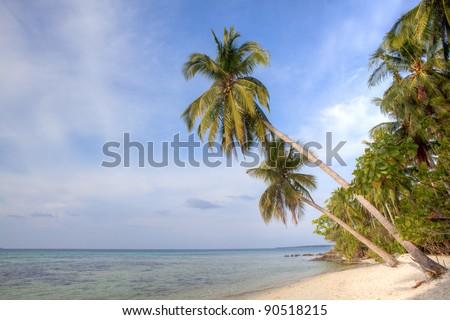 Karimunjawa Island beach, Indonesia. Tropical beach, white sand, blue sky's - stock photo