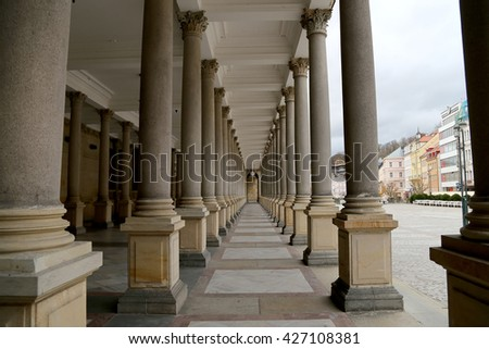 KARLOVY VARY (CARLSBAD), CZECH REPUBLIC - NOVEMBER 16, 2014:Karlovy Vary (Carlsbad) -- famous spa city in western Bohemia, very popular tourist destination in Czech Republic  - stock photo