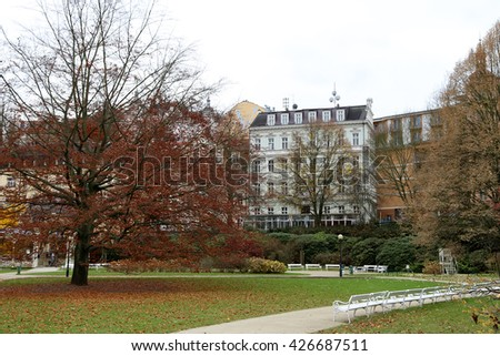 Karlovy Vary (Carlsbad) -- famous spa city in western Bohemia, very popular tourist destination in Czech Republic  - stock photo