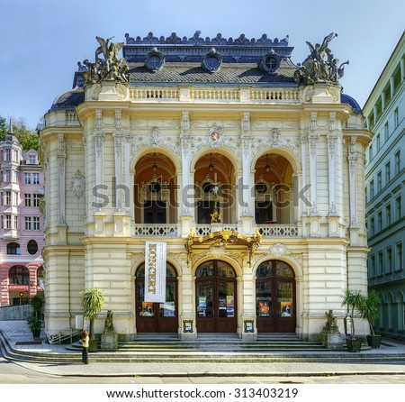 KARLOVY VARY, CZECH REPUBLIC - AUGUST 26, 2015: City Theatre in Carlsbad. Karlovy Vary (Carlsbad) is world famous for its healing hot springs - stock photo