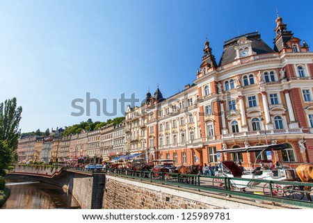 KARLOVY VARY, CZECH REPUBLIC - AUGUST 13: Karlovy Vary (Carlsbad) town is famous for its hot springs and international film festival; August 13, 2012 in Karlovy Vary, Czech Republic. - stock photo