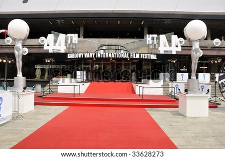 KARLOVY VARY, CZECH REPUBLIC - JULY 10: The red carpet entrance to the Hotel Thermal's 44th Karlovy Vary International Film Festival is shown on July 10, 2009 in Karlovy Vary, Czech Republic.