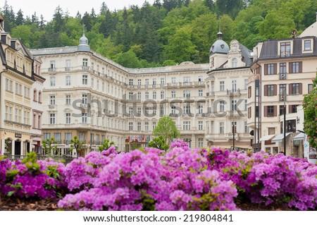 KARLOVY VARY, CZECH REPUBLIC - MAY 17, 2014: Grand-hotel Pupp - stock photo
