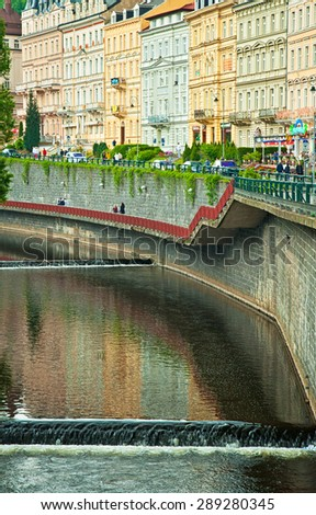 KARLOVY VARY, CZECH REPUBLIC - 24 MAY, 2015:Old town of of Karlovy Vary, Czech Republic on 24 May, 2015. It is one of the nicest spa cities in the world. - stock photo