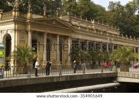 Karlovy Vary,Czech Republic -  September 22: View to Mlinske Colonnade on September 22, 2015 in Karlovy Vary. Karlovy Vary historically famous for its hot springs (13 main springs, about 300 smaller )