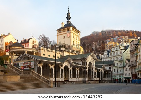 KARLOVY VARY, CZECHIA - NOVEMBER 25:  View of Karlovy Vary on November 25, 2011 in Bohemia, Czechia. Town is historically famous for its hot springs (13 main springs, about many smaller springsr) - stock photo