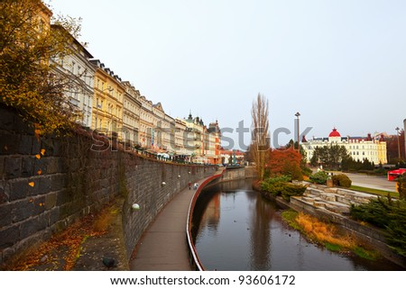 KARLOVY VARY, CZECHIA - NOVEMBER 25:  View of Karlovy Vary on November 25, 2011 in Bohemia, Czechia. Town is historically famous for its hot springs (13 main springs, about many smaller springs) - stock photo