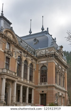 Karlovy Vary LAZNE I building ancient gothic architecture. Czech Republic. - stock photo