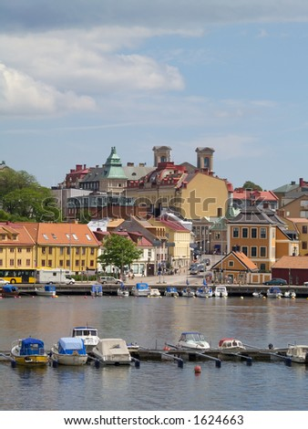 Karlskrona from the sea - stock photo