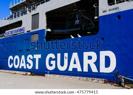 Karlskrona, Sweden - August 27, 2016: Detail of the Swedish Coast Guard ship KBV 003 Amfitrite moored dockside on public open ship day. It is a modern combination vessel for many different missions.