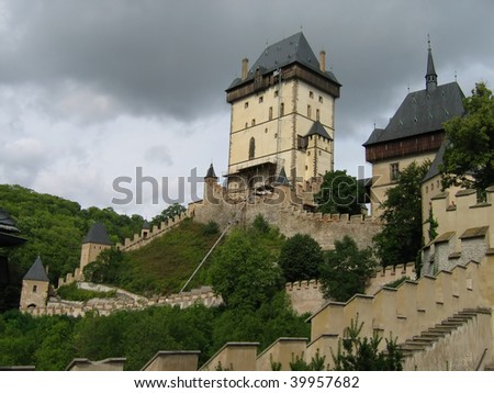 Karlstein Castle, home of Charles IV and the crown jewels, constructed in 1348 in the Bohemia, Czech Republic, - stock photo