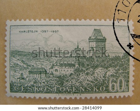 Karlstejn castle (near Prague) on stamp