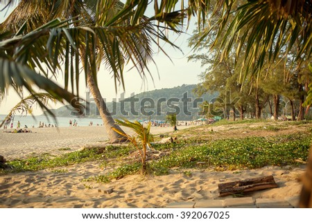 Karon beach in Phuket, Thailand. Image with selective focus and toning - stock photo