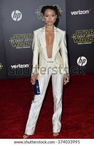 "Karrueche Tran at the world premiere of ""Star Wars: The Force Awakens"" on Hollywood Boulevard. December 14, 2015  Los Angeles, CA Picture: Paul Smith / Featureflash - stock photo"