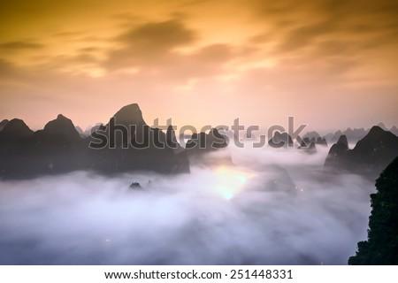 Karst Mountains of Xingping, China. - stock photo