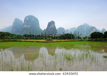 Karst scenery in Guangxi province, China - stock photo