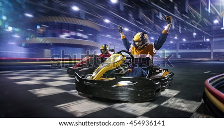 Kart crossing the finish line