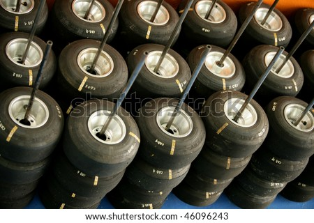 Karts wheels and tires  before competition, many - stock photo