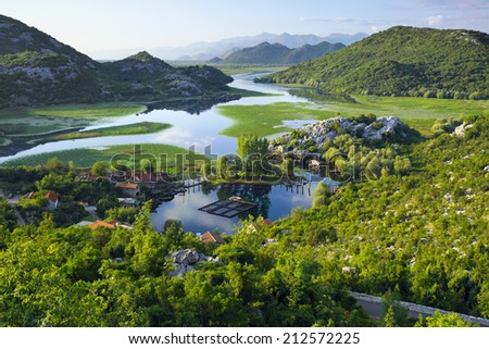 Karuc Bay in Lake Skadar National Park, Montenegro - stock photo