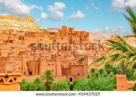 Kasbah Ait Ben Haddou in the Atlas Mountains of Morocco. UNESCO World Heritage Site since 1987. Several films have been shot there