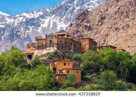 Kasbah du Toubkal, Imlil in the Atlas Mountains (Morocco) - stock photo