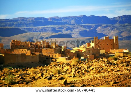 Kasbah in Atlas Mountains, Africa - stock photo
