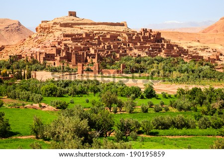 Kasbah of ait benhaddou in morocco - stock photo