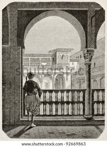 Kasbah of Algiers old view. By unidentified author, published on Magasin Pittoresque, Paris, 1845 - stock photo