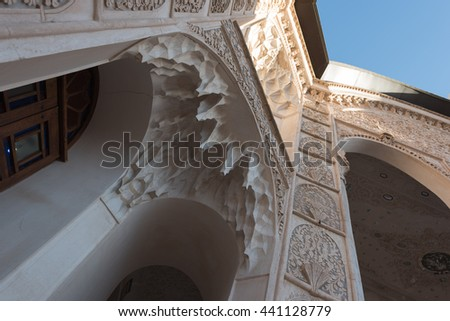 KASHAN, IRAN - 10 OCTOBER 2015: Detail of the decoration of one of the merchant's houses in the persian city of Kashan.