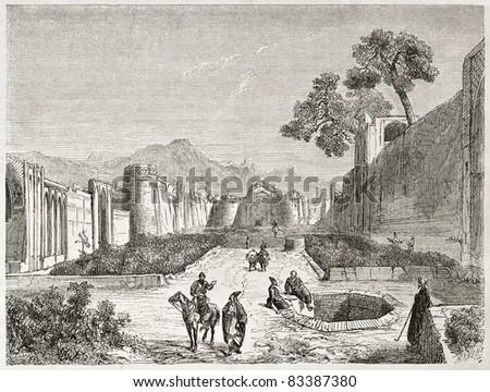 Kashan old view, Persia. Created by Laurens, published on Le Tour du Monde, Paris, 1860 - stock photo