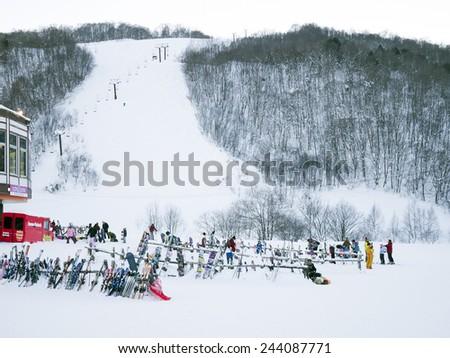 KASHIMAYARI, NAGANO, JAPAN - January 3. , 2015: Winter view mountain valley snow field, Kashimayari, Nagano, Japan. - stock photo
