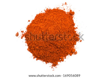 Kashmiri Chili Powder Pile On White Background - stock photo