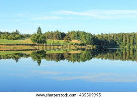 Kashubian lake in the summer. Lake Kamienne is lobelian lake and natural reserve