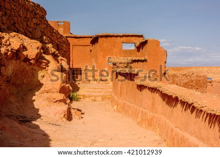 Kasr of Ait Benhaddou, a fortified city, the former caravan way from Sahara to Marrakech. UNESCO World Heritage, Morocco - stock photo
