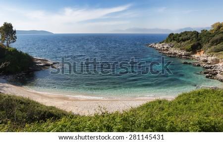 Kassiopi Beach, Corfu Island, Greece - stock photo