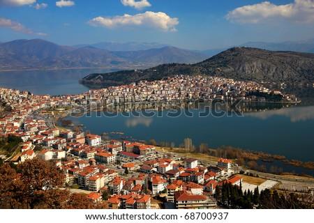 Kastoria and Orestias Lake - stock photo