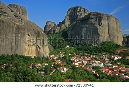 Kastraki village near Meteora in Greece - stock photo