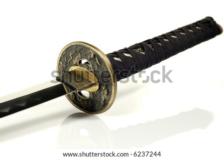 Katana - traditional Japanese sword; white background - stock photo