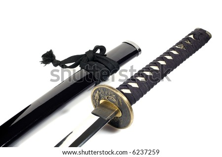 Katana - traditional Japanese sword; white background - stock photo