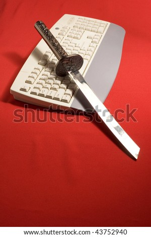 Katane and keyboards on red background - stock photo