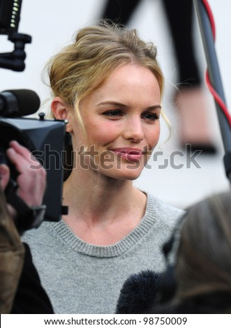 Kate Bosworth arriving for the Burberry Prorsum fashion show as part of London Fashion Week 2012 A/W in Kensington Gardens, London. 20/02/2012 Picture by: Simon Burchell / Featureflash - stock photo
