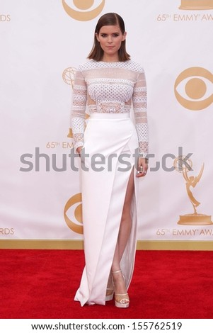 Kate Mara at the 65th Annual Primetime Emmy Awards Arrivals, Nokia Theater, Los Angeles, CA 09-22-13 - stock photo