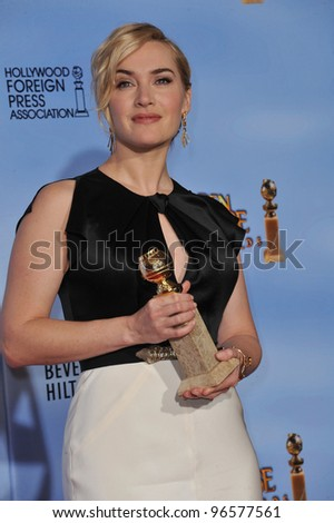 Kate Winslet at the 69th Golden Globe Awards at the Beverly Hilton Hotel. January 15, 2012  Beverly Hills, CA Picture: Paul Smith / Featureflash - stock photo