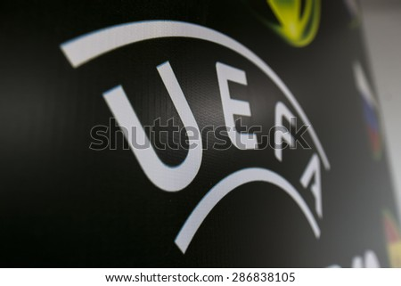 KATERINI, GREECE, JUNE 9,2015: The Uefa banner during the Under19 Championship draw. - stock photo