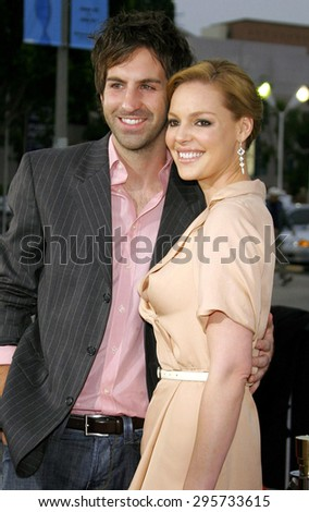 """Katherine Heigl and Josh Kelley attend Los Angeles Premiere of """"Knocked Up"""" held at the Mann Village Theatre in Westwood, California, on May 21, 2007.  - stock photo"""