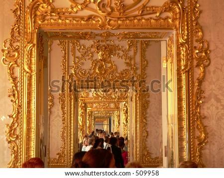 Katherine's Palace corridor in Tsarskoe Selo (Pushkin), Russia - stock photo