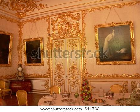 Katherine's Palace dining room in Tsarskoe Selo (Pushkin), Russia - stock photo