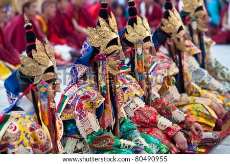 KATHMANDU - MARCH 25:  Buddhist Lamas perform during Tsam mystery at Shechen monastery on March 25, 2010 in Kathmandu, Nepal. Through the language of dancing and pantomime Tsam tells about patrons of Buddhism