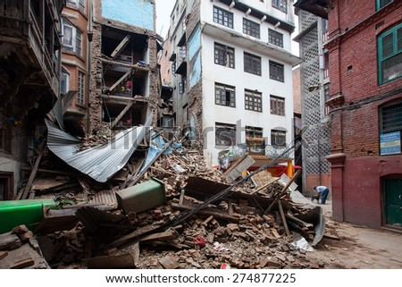 KATHMANDU, NEPAL - APRIL 27, 2015: Debris of living buildings after earthquake in Kathmandu, Nepal - stock photo